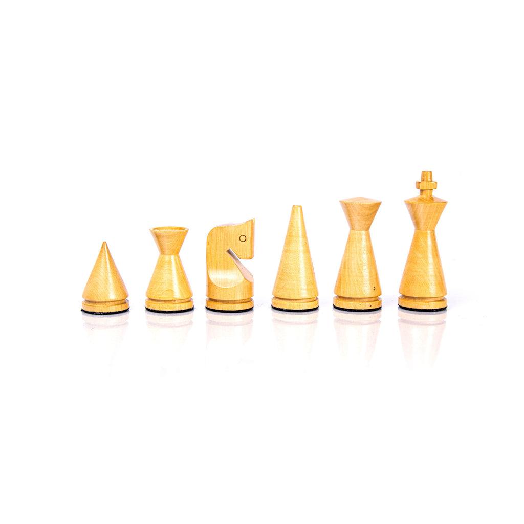 MODERN STYLE WOODEN CHESSMEN IN EBONIZED BLACK & IVORY - King's Height 7.6cm