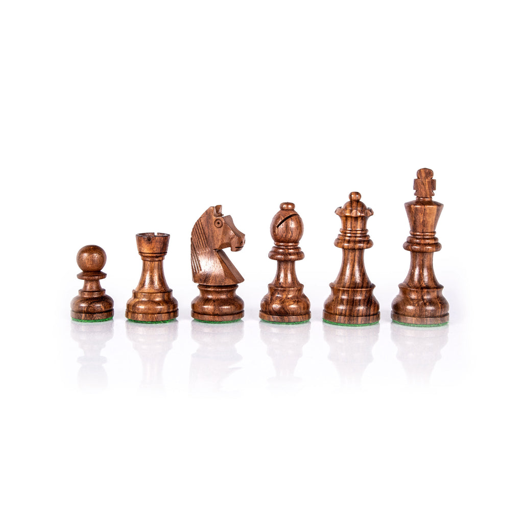 STAUNTON WOODEN WEIGHTED CHESSMEN - King's Height 8.5cm