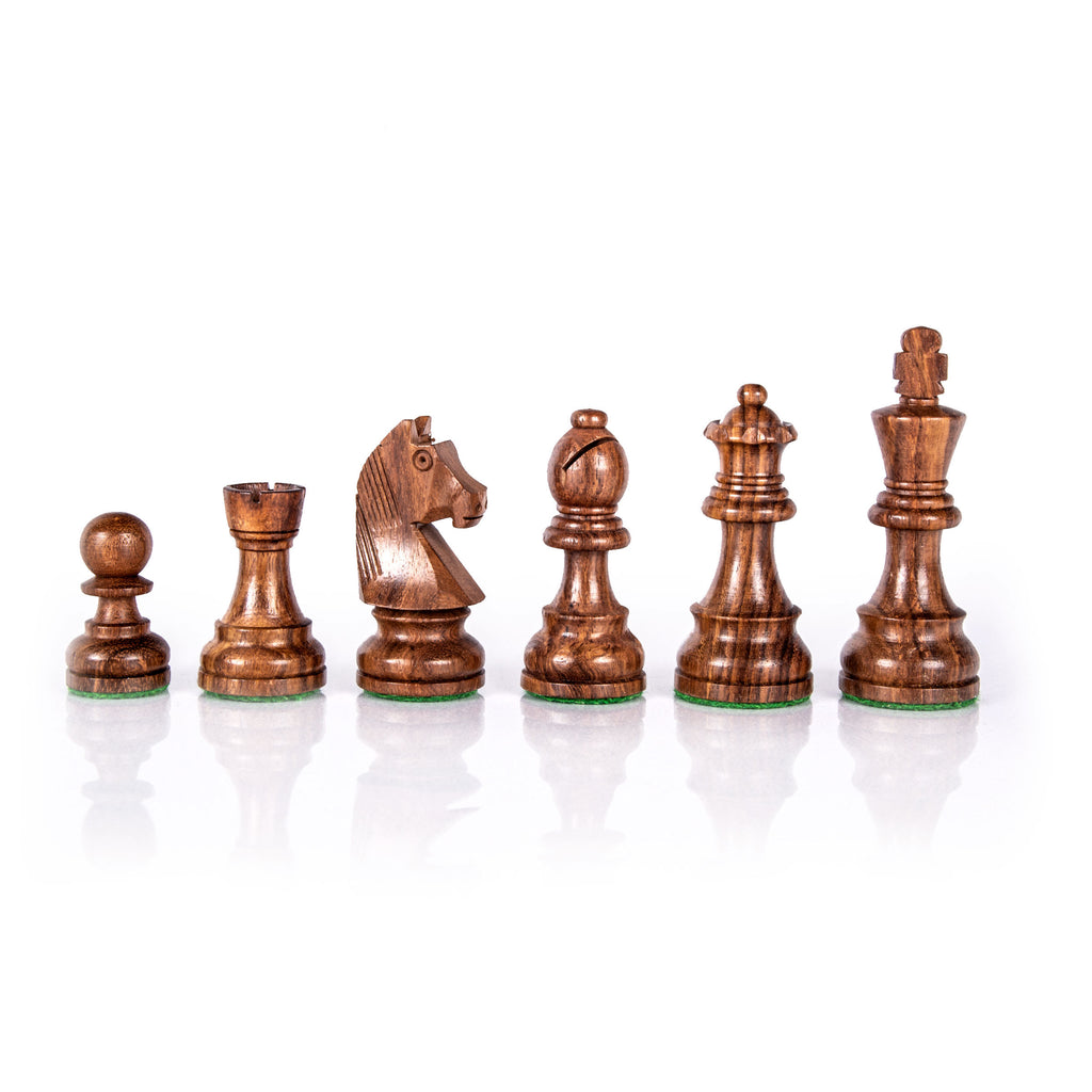 STAUNTON WOODEN WEIGHTED CHESSMEN - King's Height 9.5cm