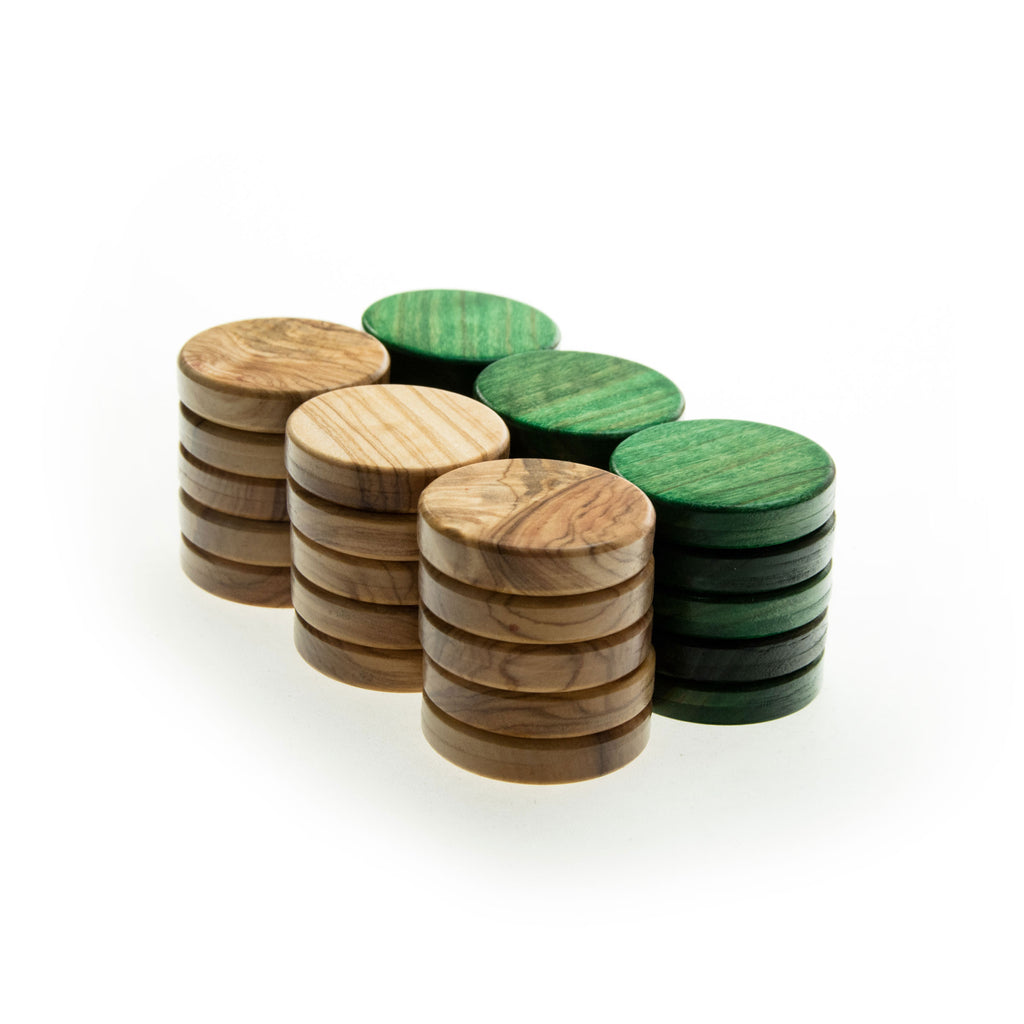 OLIVE WOOD CHECKERS in green color