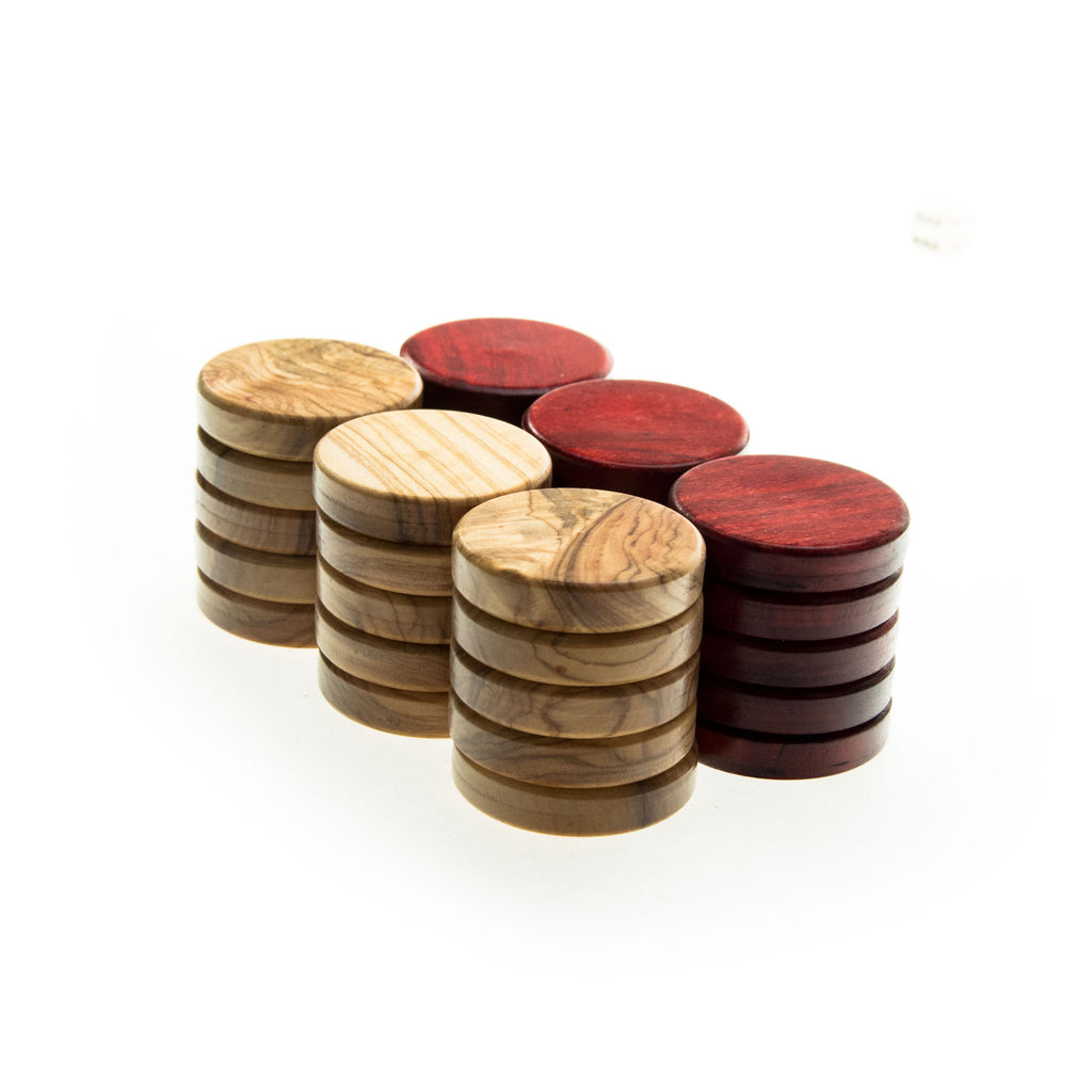 OLIVE WOOD CHECKERS in red color