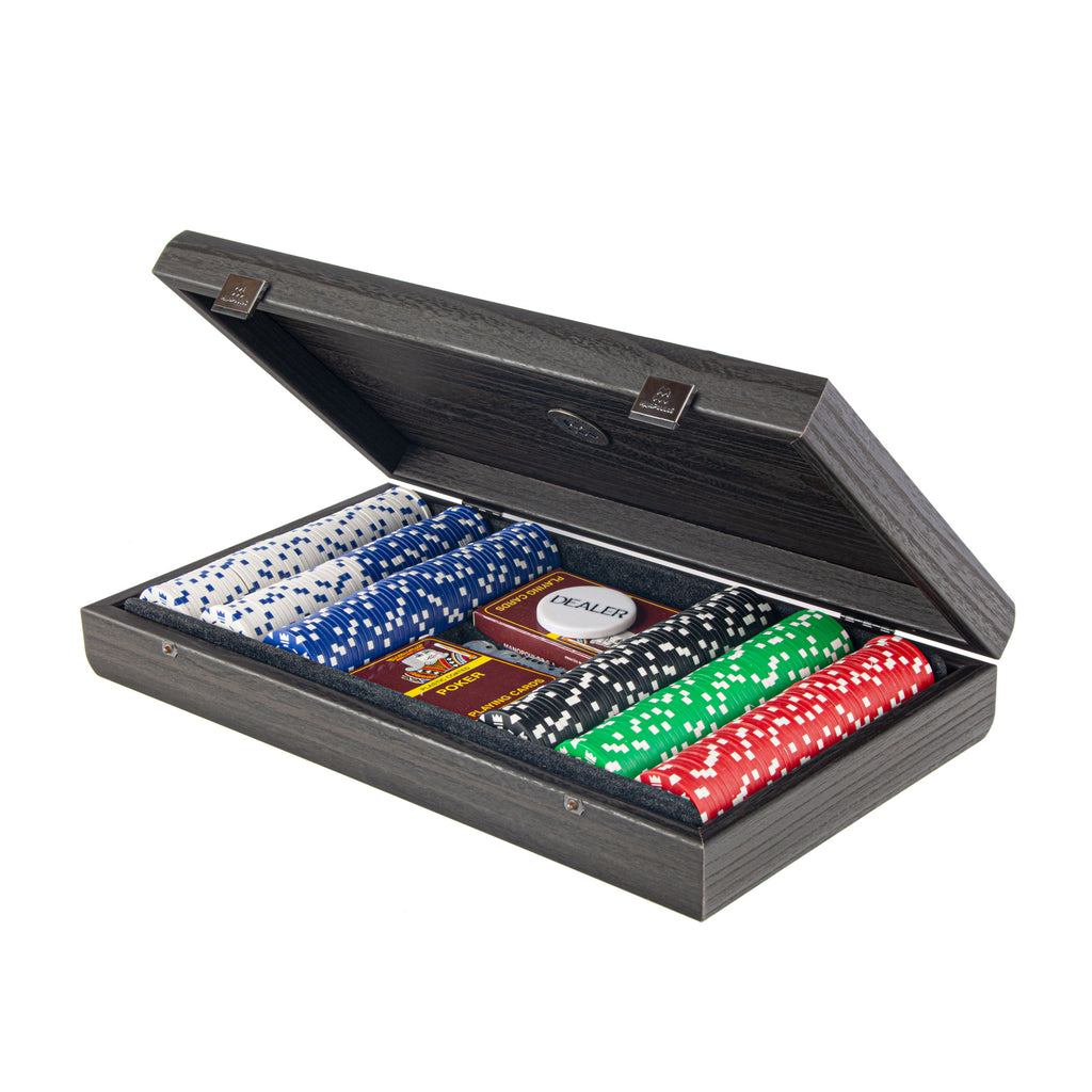 POKER SET in Black Wooden case with Black Leatherette Top