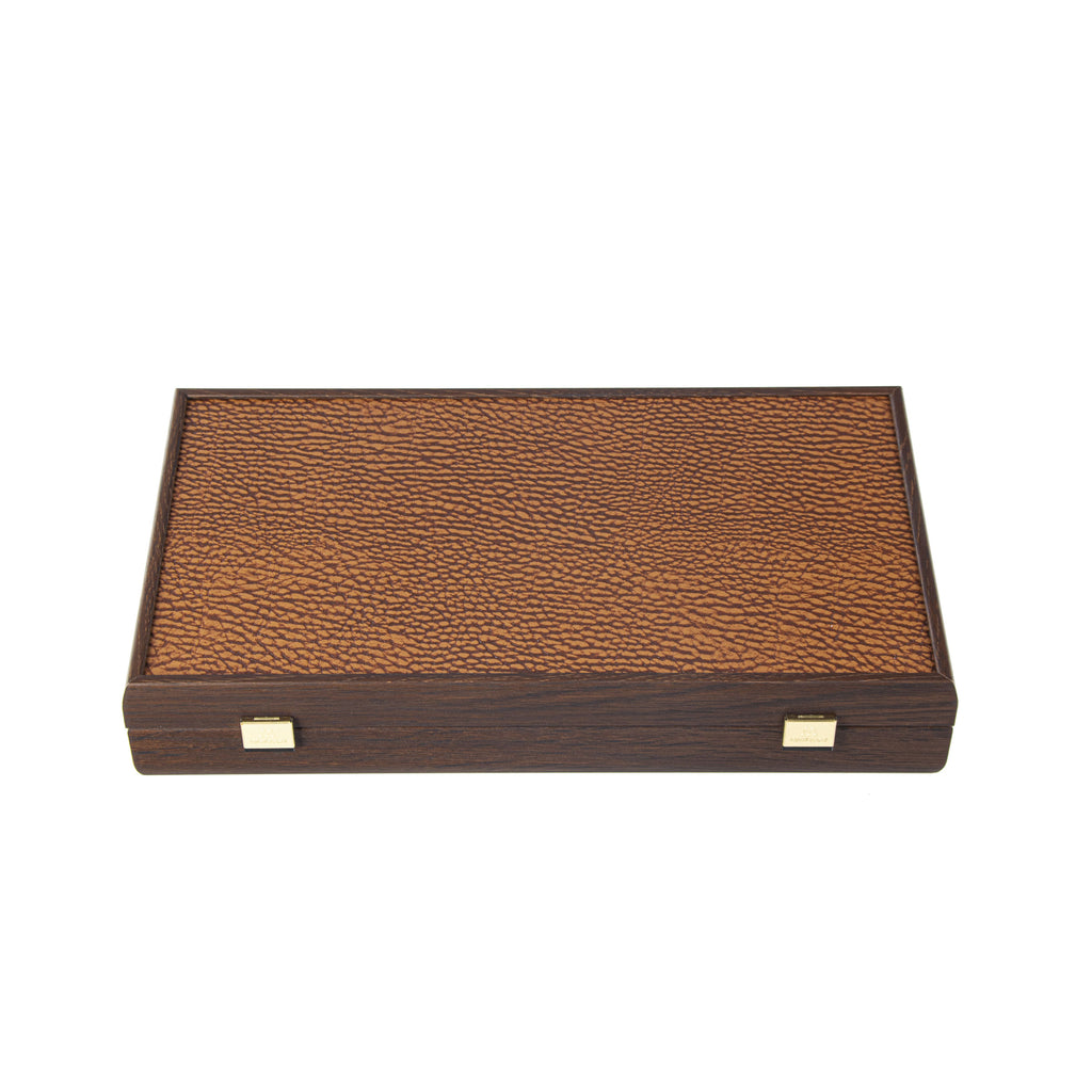 POKER SET in Dark Walnut Wooden case with Brown Leatherette Top