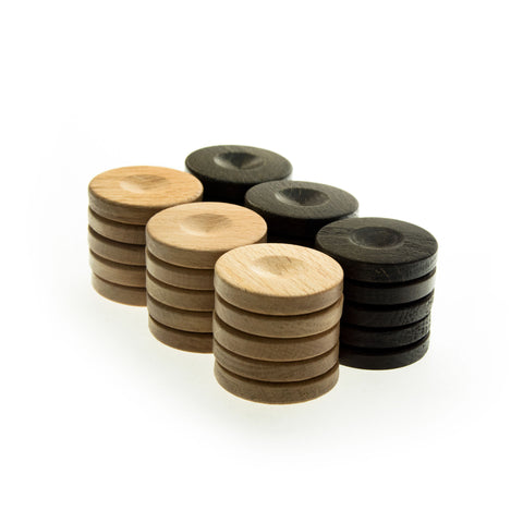 WOODEN CHECKERS in brown color