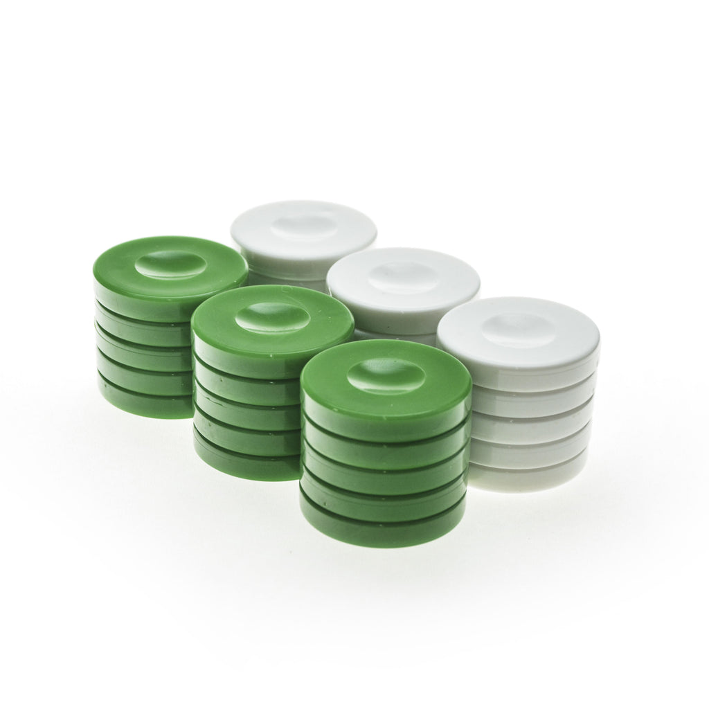 PLASTIC CHECKERS in green color