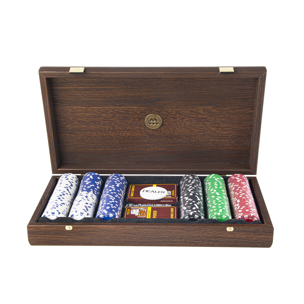 POKER SET in Dark Walnut Wooden case with Californian Burl veneer on top
