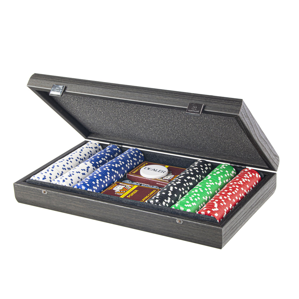 POKER SET in Black Wooden replica case