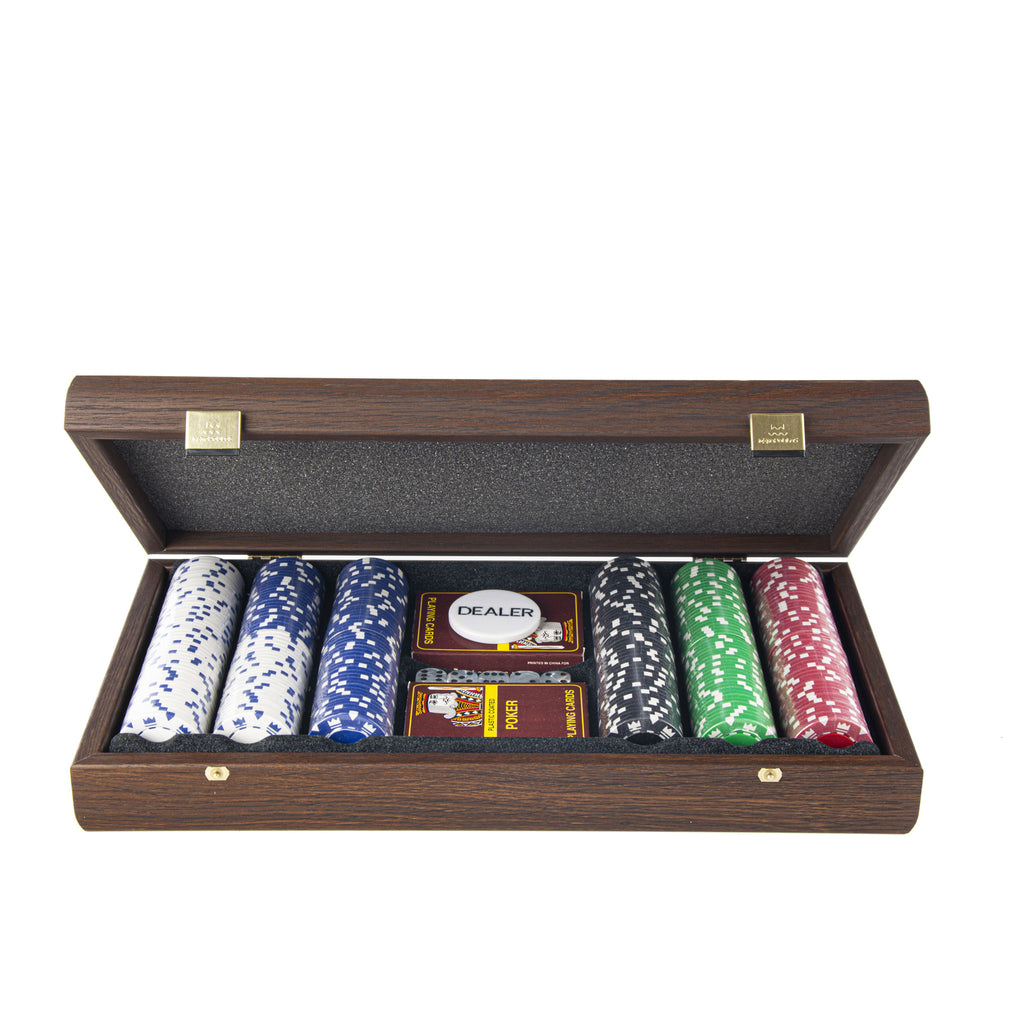 POKER SET in Dark Walnut Wooden replica case