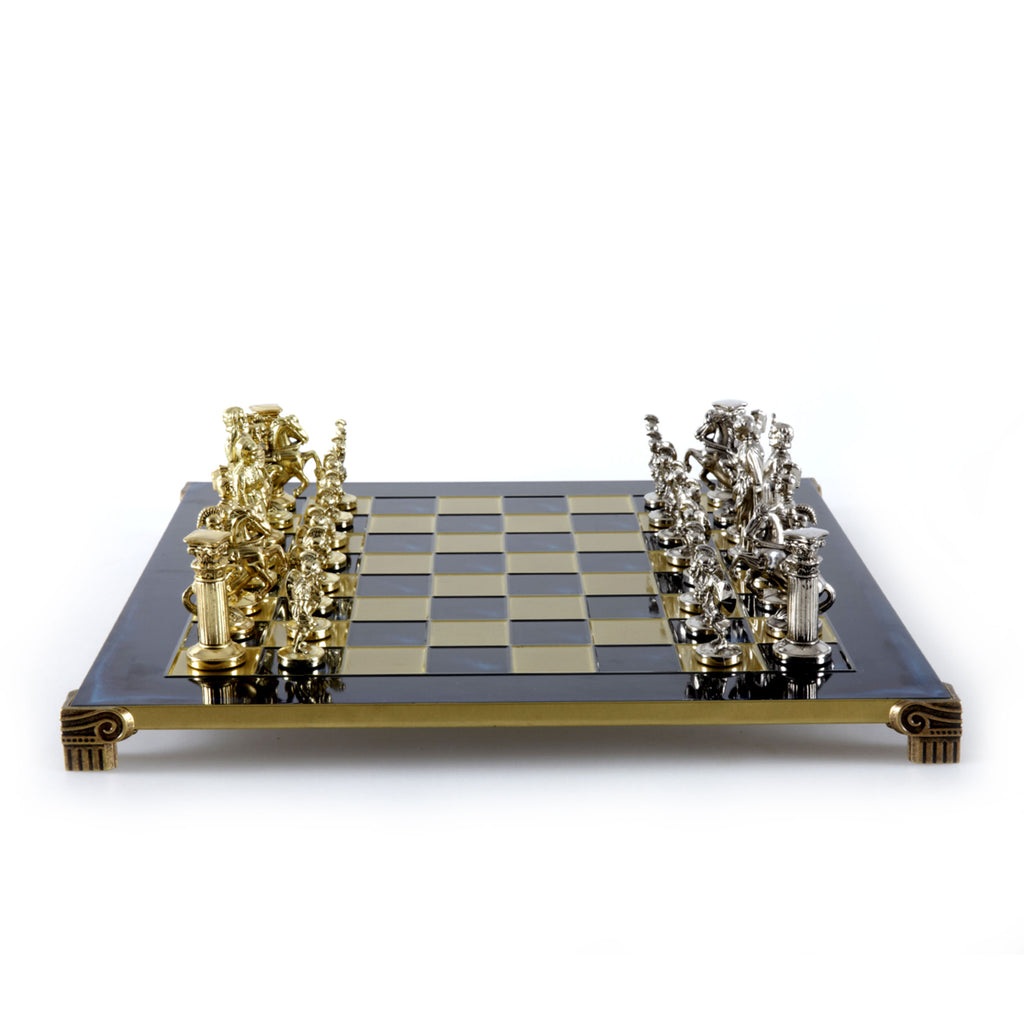 GREEK ROMAN PERIOD CHESS SET with gold/silver chessmen and bronze chessboard 44 x 44cm (Large)