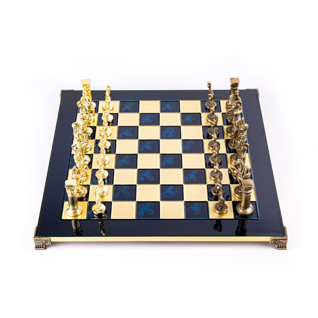 0.826 Squares Bonded Marble Greek Battle Small Chess Board Roman