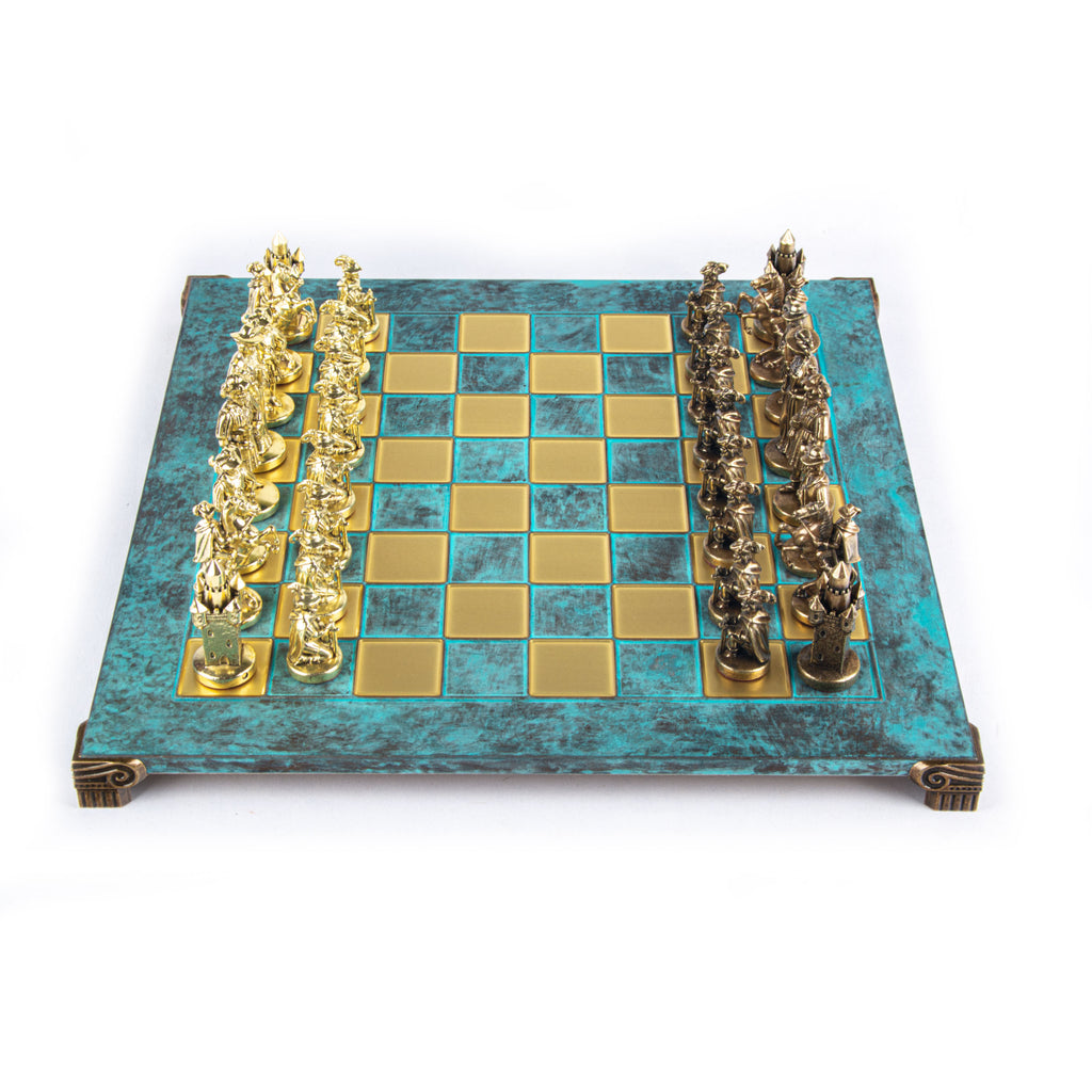 MEDIEVAL KNIGHTS CHESS SET with brown/gold chessmen and bronze chessboard 44 x 44cm  (Large)