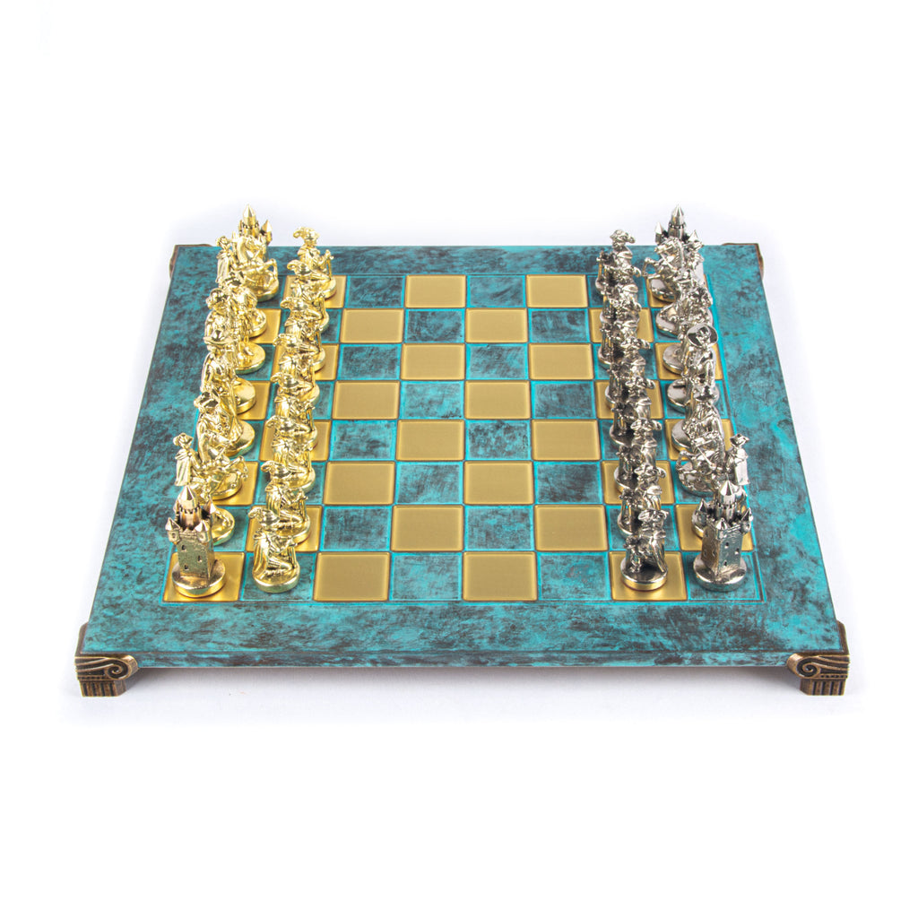 MEDIEVAL KNIGHTS CHESS SET with gold/silver chessmen and bronze chessboard 44 x 44cm  (Large)
