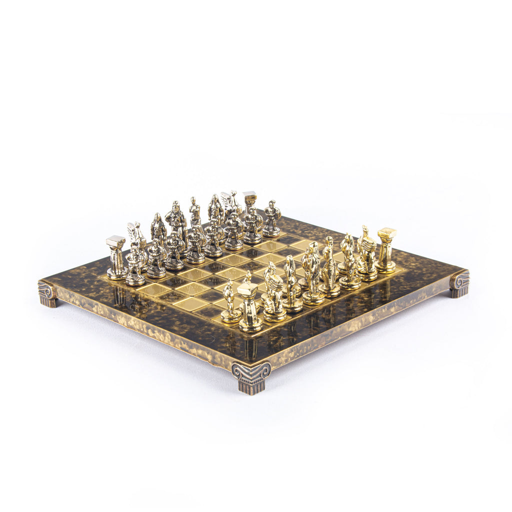 SPARTAN WARRIOR CHESS SET with gold/silver chessmen and bronze chessboard 28 x 28cm (Small)