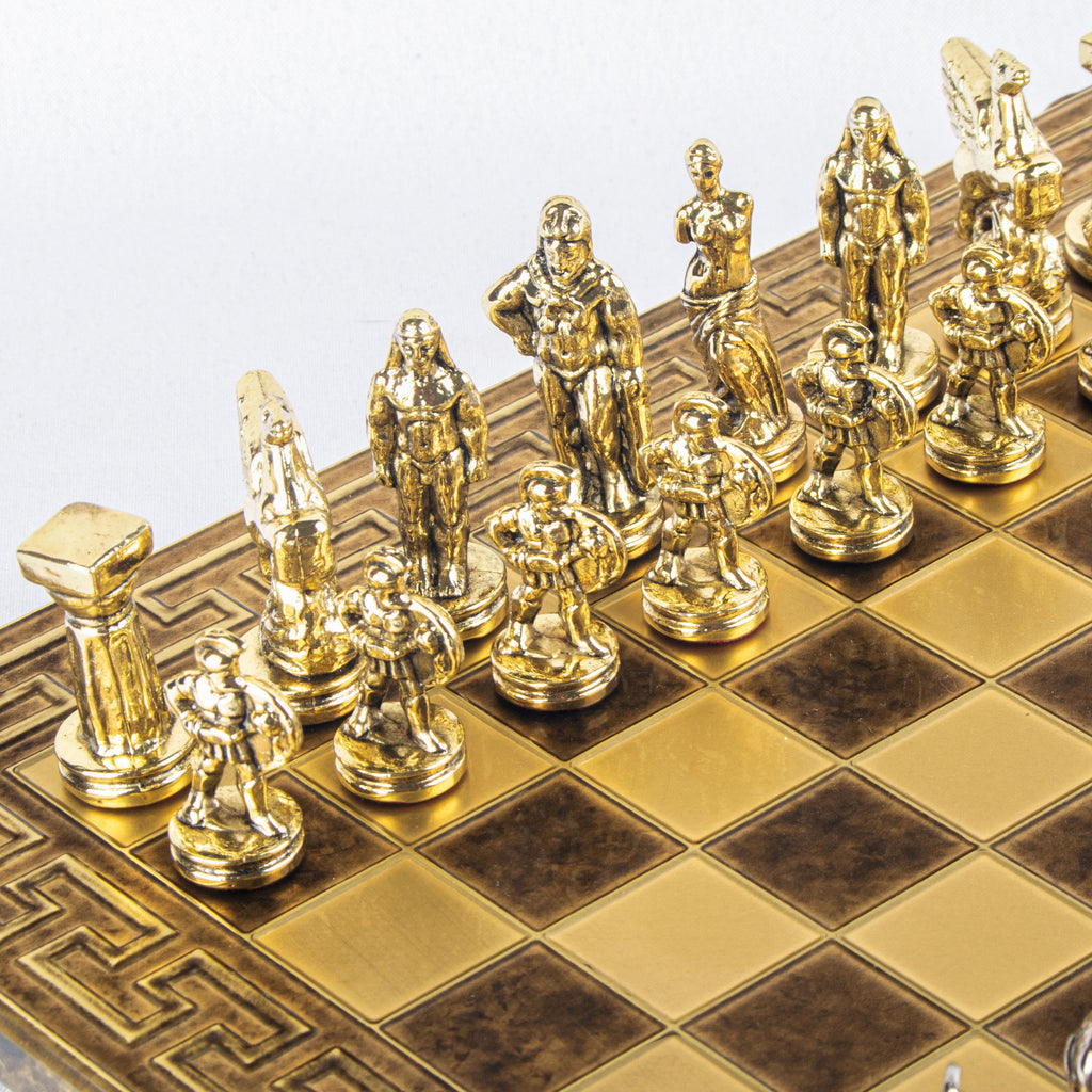 SPARTAN WARRIOR CHESS SET with gold/silver chessmen and Meander bronze chessboard 28 x 28cm (Small)