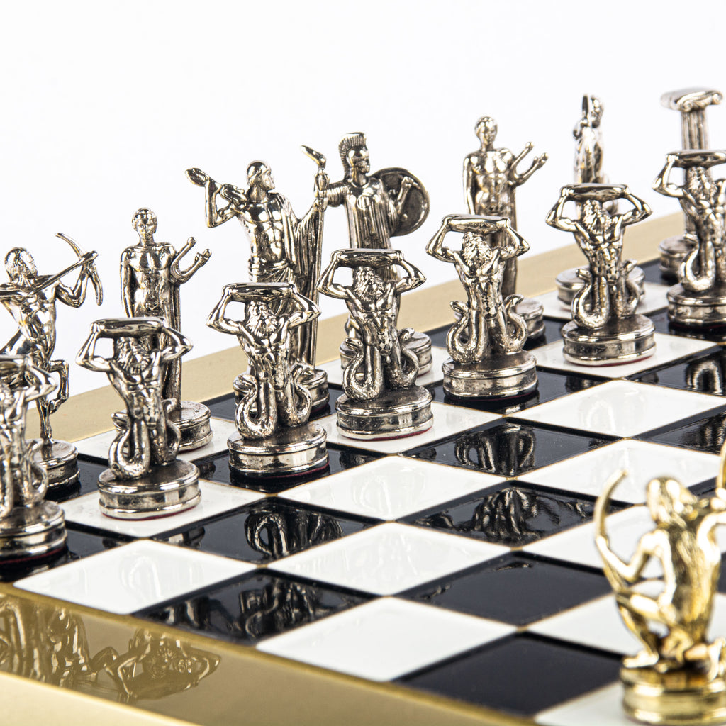 GIANTS' BATTLE CHESS SET with gold/silver chessmen and bronze chessboard 36 x 36cm (Medium)