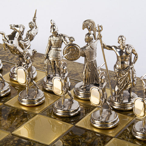 GREEK MYTHOLOGY CHESS SET with gold/silver chessmen and bronze chessboard 54 x 54cm (Extra Large)