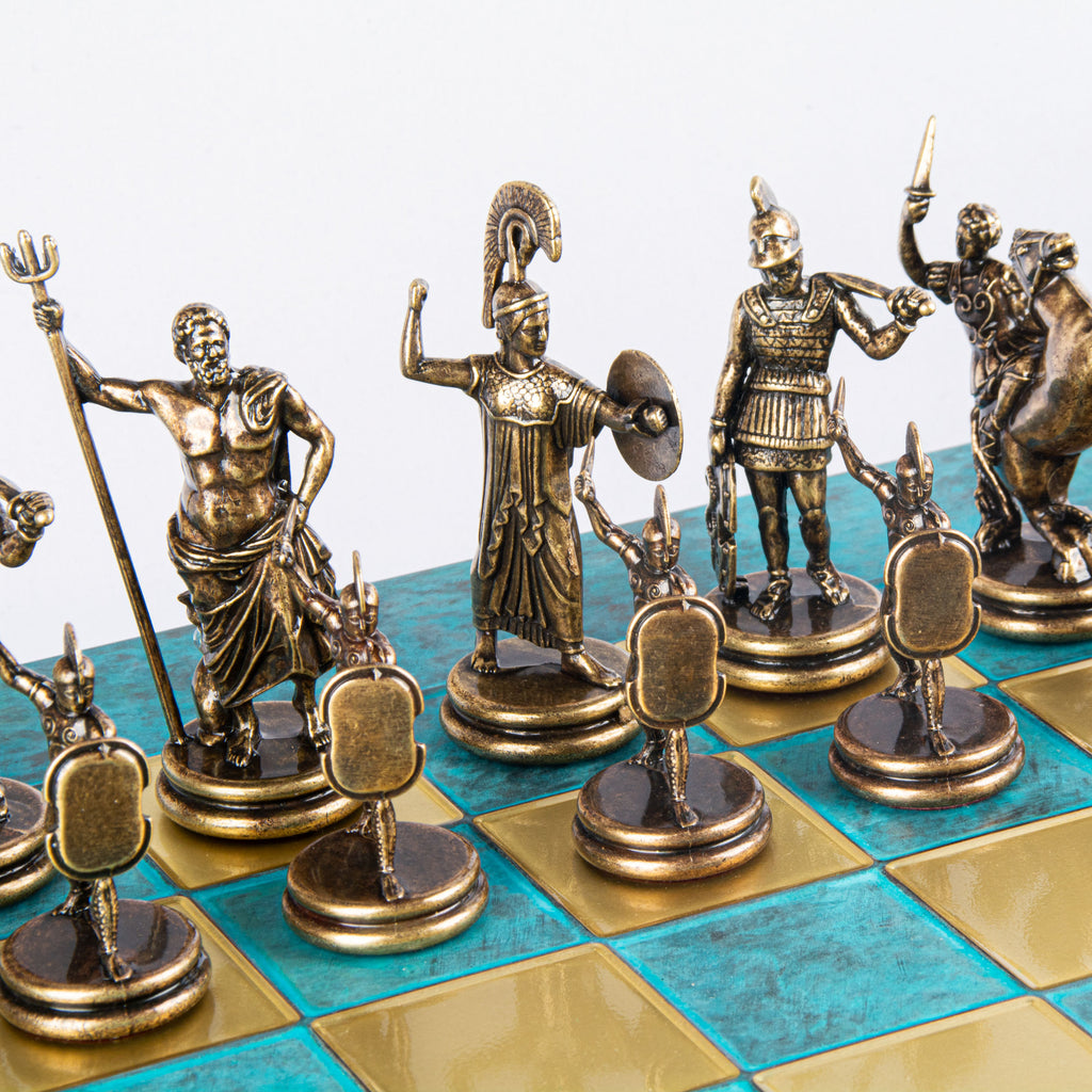 GREEK MYTHOLOGY CHESS SET with gold/brown chessmen and bronze chessboard 54 x 54cm (Extra Large)