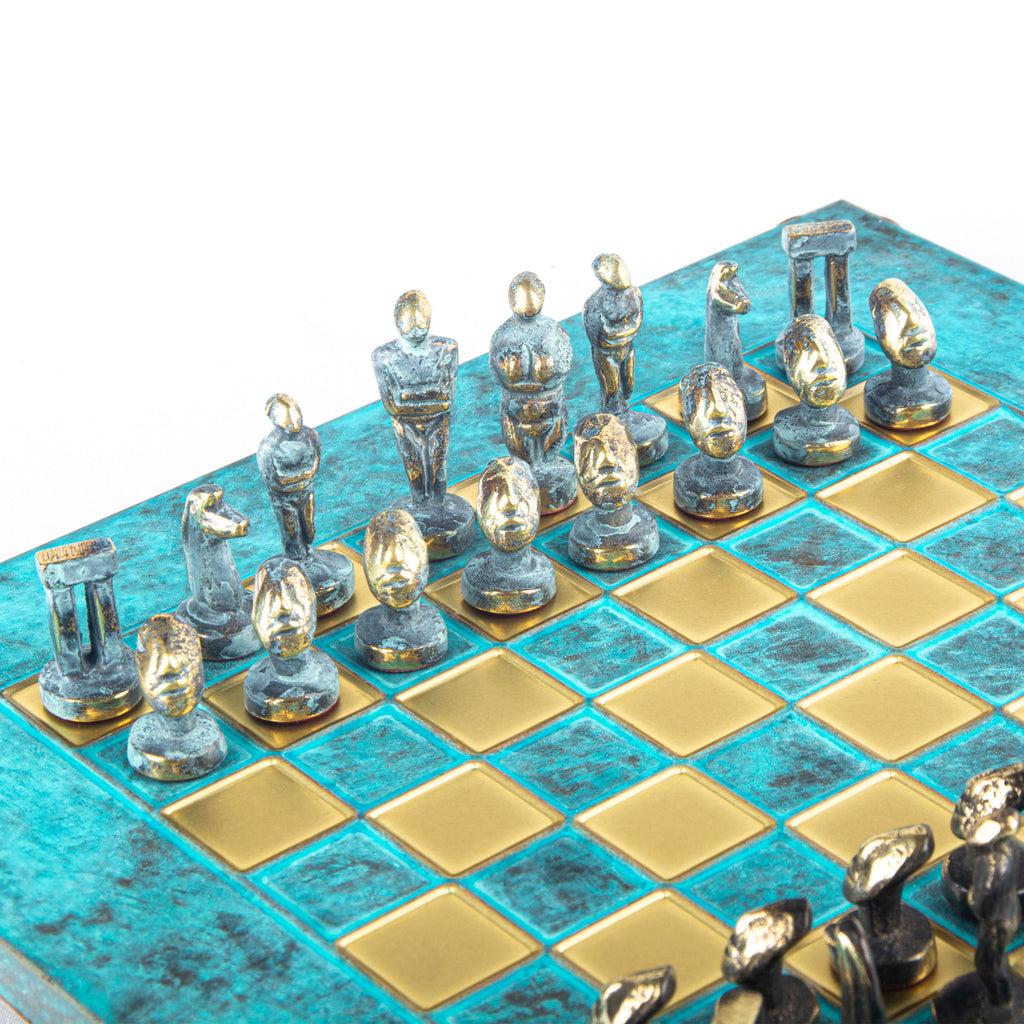 CYCLADIC ART SOLID BRASS CHESS SET with blue/brown chessmen and bronze chessboard 28 x 28cm (Small)