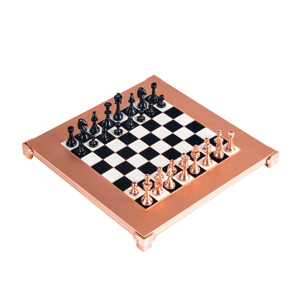 CLASSIC METAL STAUNTON CHESS SET with black/copper chessmen and copper chessboard 28 x 28cm (Small)