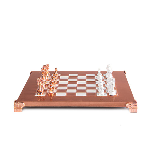 CLASSIC METAL STAUNTON CHESS SET with copper/white chessmen and copper chessboard 28 x 28cm (Small)