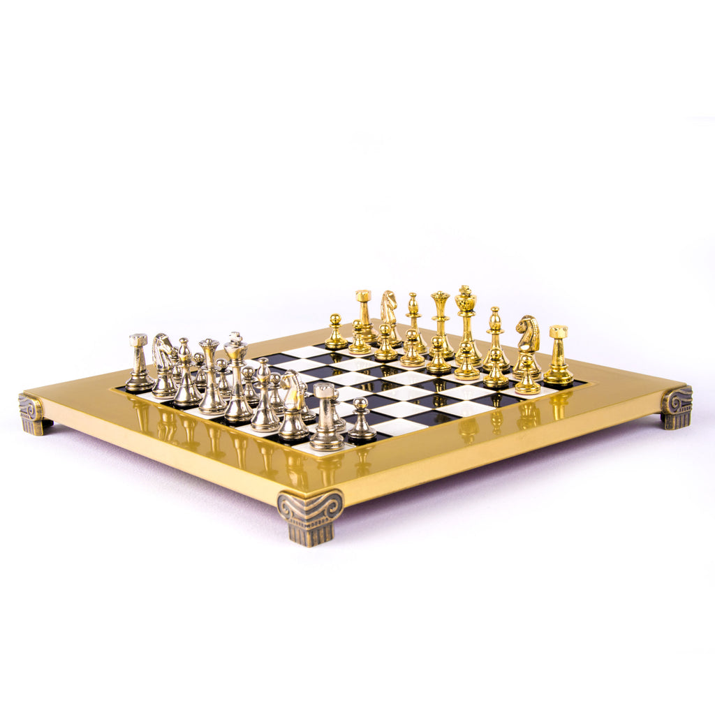 CLASSIC METAL STAUNTON CHESS SET with gold/silver chessmen and bronze chessboard 28 x 28cm (Small)