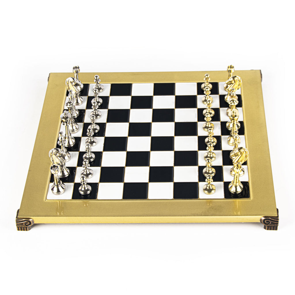 CLASSIC METAL STAUNTON CHESS SET with gold/silver chessmen and bronze chessboard 36 x 36cm (Medium)