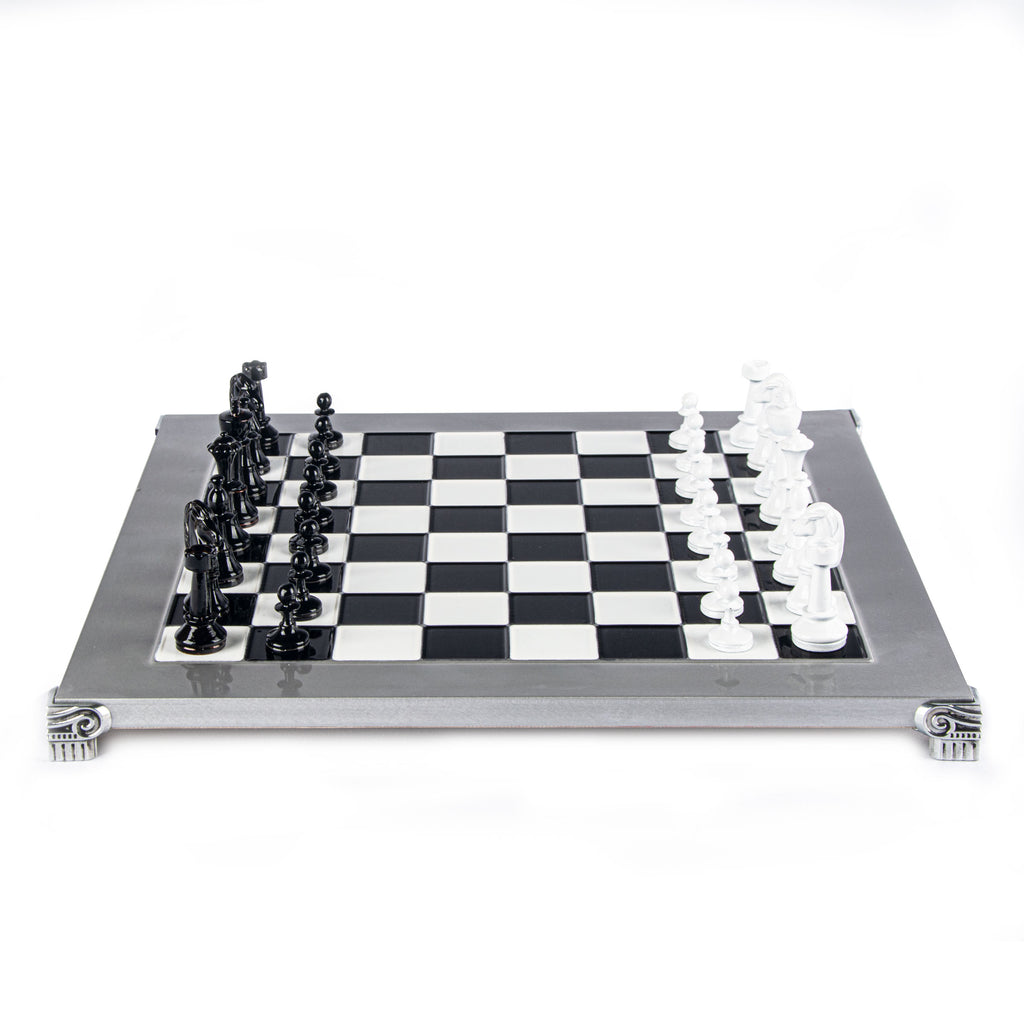 CLASSIC METAL STAUNTON CHESS SET with black/white chessmen and aluminium chessboard 36 x 36cm (Medium)