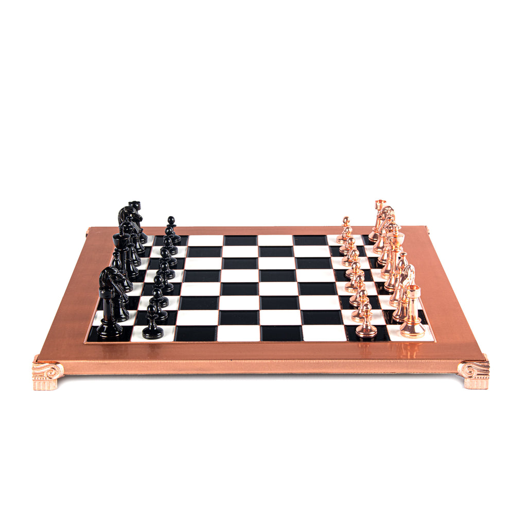 CLASSIC METAL STAUNTON CHESS SET with black/copper chessmen and copper chessboard 36 x 36cm (Medium)