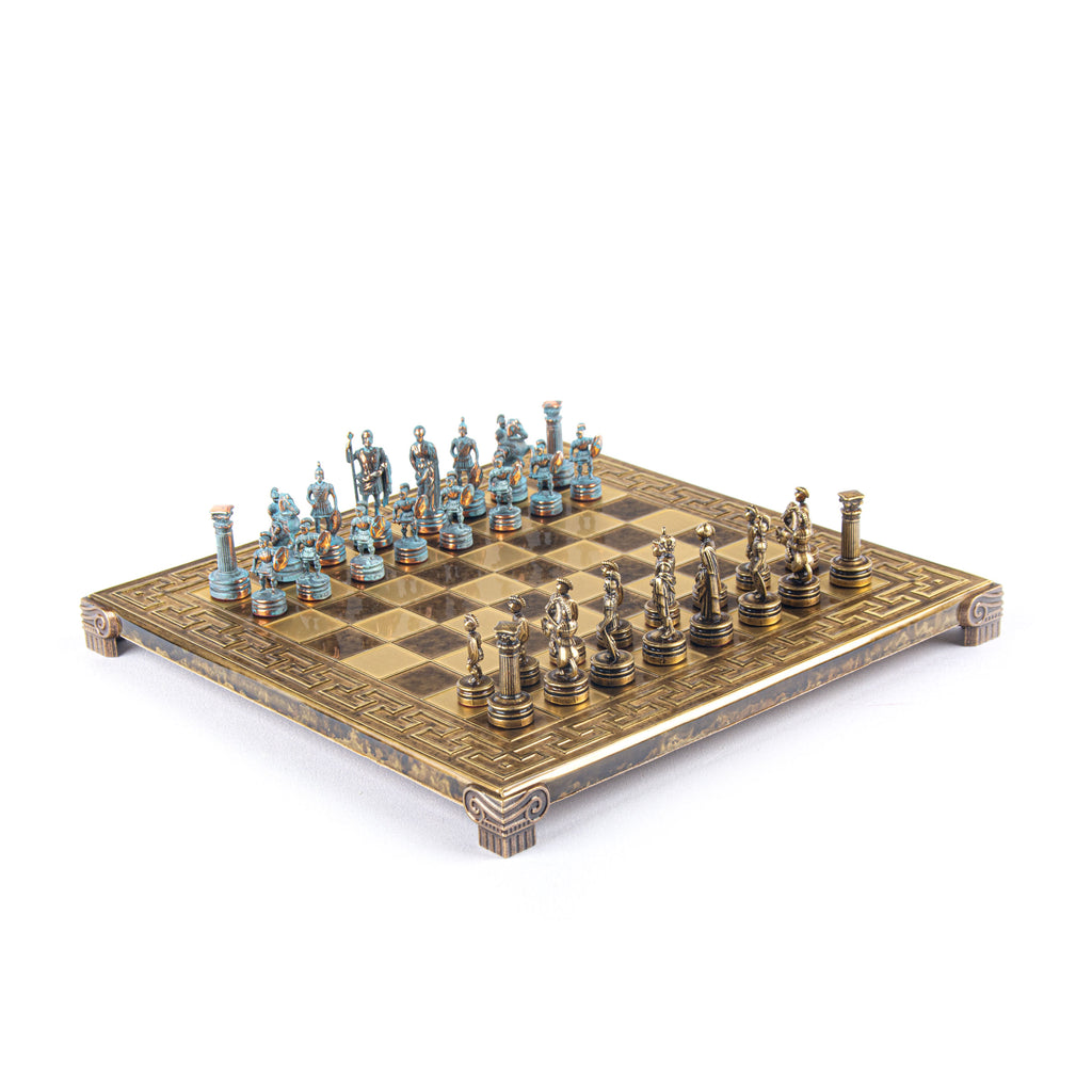 GREEK ROMAN PERIOD CHESS SET with blue/bronze chessmen and meander bronze chessboard 28 x 28cm (Small)