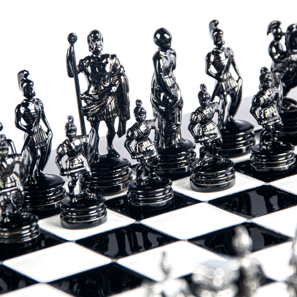 GREEK ROMAN PERIOD CHESS SET with black/grey chessmen and aluminium chessboard 28 x 28cm (Small)