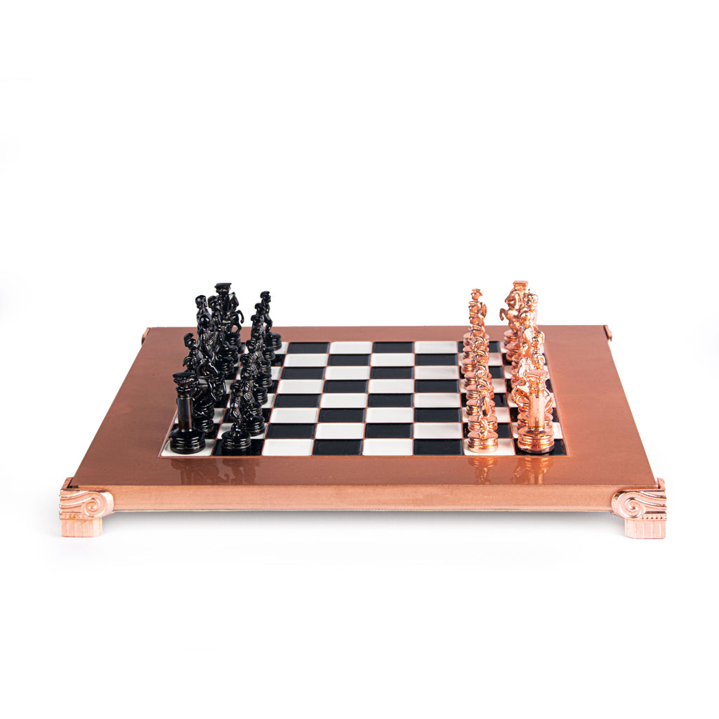 GREEK ROMAN PERIOD CHESS SET with black/copper chessmen and copper chessboard 28 x 28cm (Small)