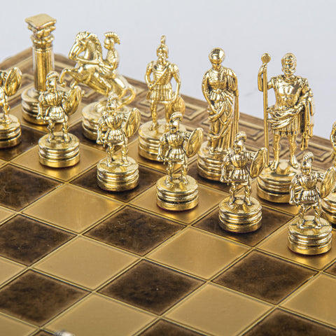 GREEK ROMAN PERIOD CHESS SET with gold/silver chessmen and meander bronze chessboard 28 x 28cm (Small)