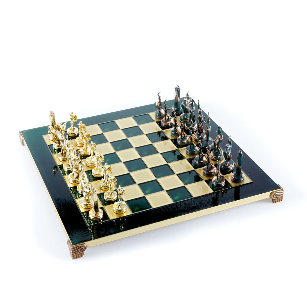 GREEK MYTHOLOGY CHESS SET with green/gold chessmen and bronze chessboard 36 x 36cm (Medium)