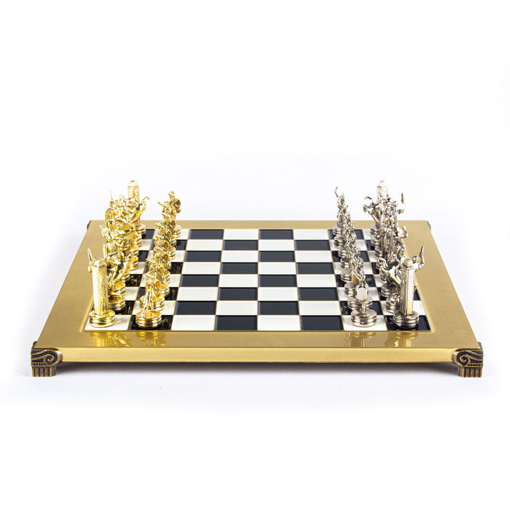 GREEK MYTHOLOGY CHESS SET with gold/silver chessmen and bronze chessboard 36 x 36cm (Medium)