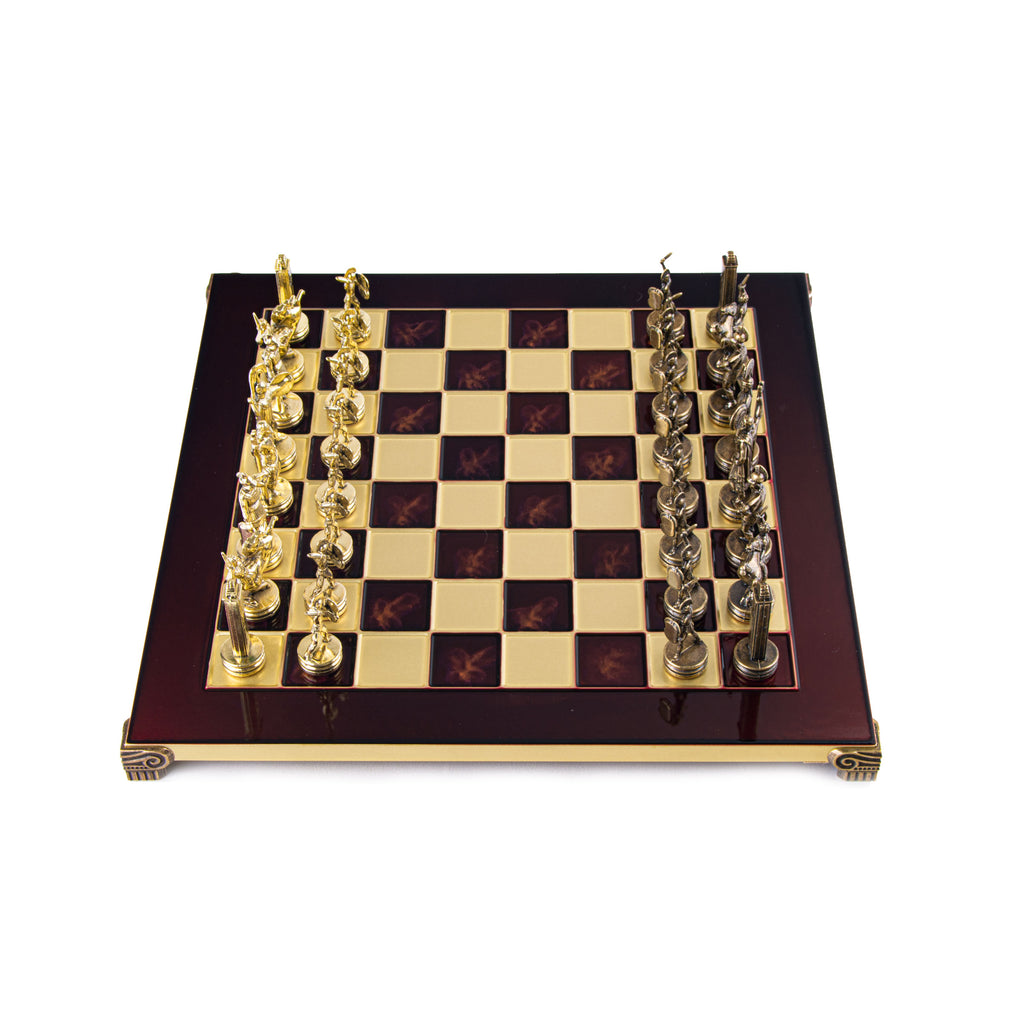 GREEK MYTHOLOGY CHESS SET with gold/brown chessmen and bronze chessboard 36 x 36cm (Medium)