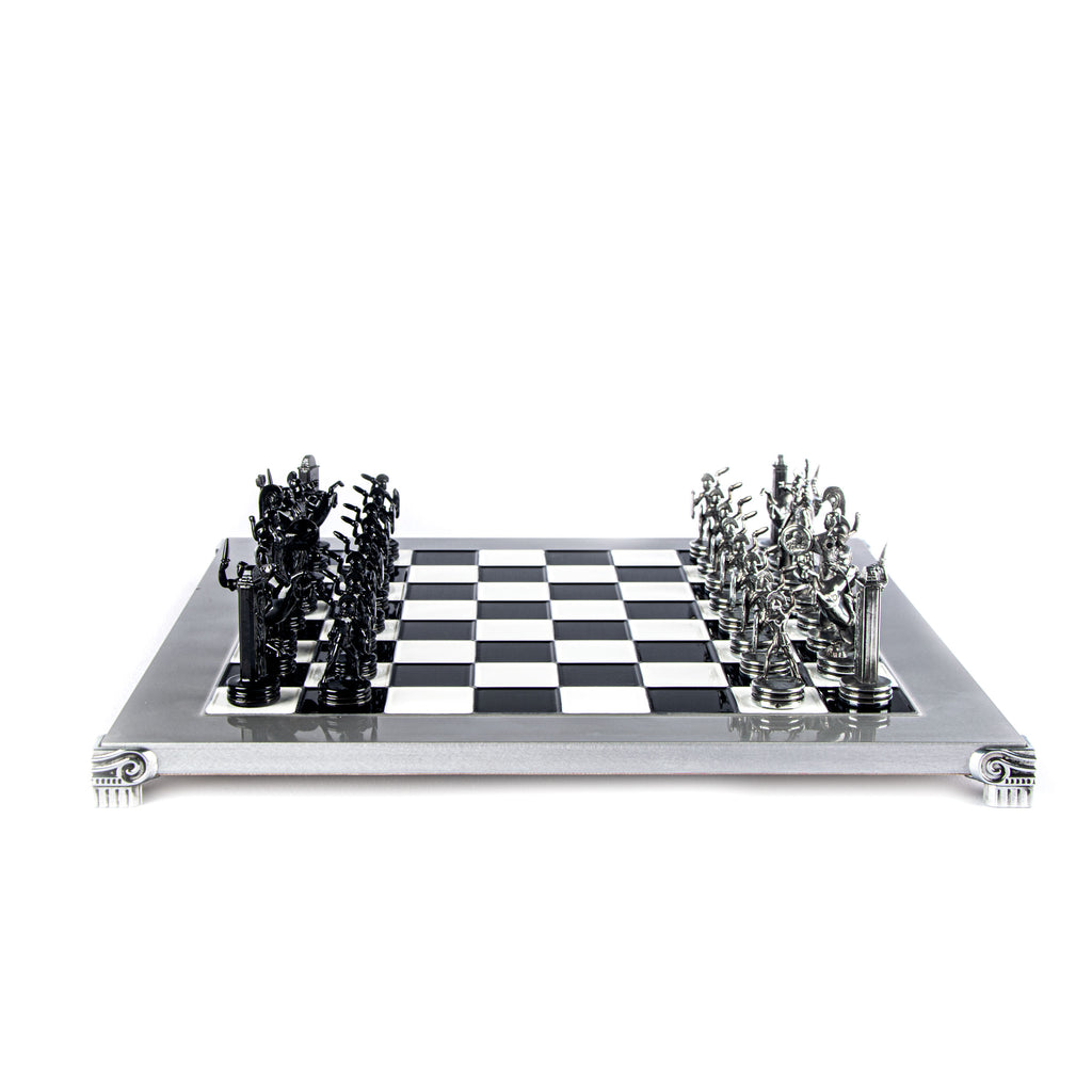 GREEK MYTHOLOGY CHESS SET with black/grey chessmen and aluminium chessboard 36 x 36cm (Medium)