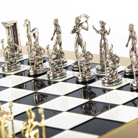 MINOAN WARRIOR CHESS SET with gold/silver chessmen and bronze chessboard 36 x 36cm (Medium)