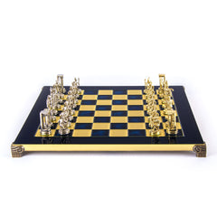 MINOAN WARRIOR CHESS SET with gold/silver chessmen and bronze chessboard blue
