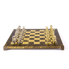 MINOAN WARRIOR CHESS SET with gold/silver chessmen and bronze chessboard brown