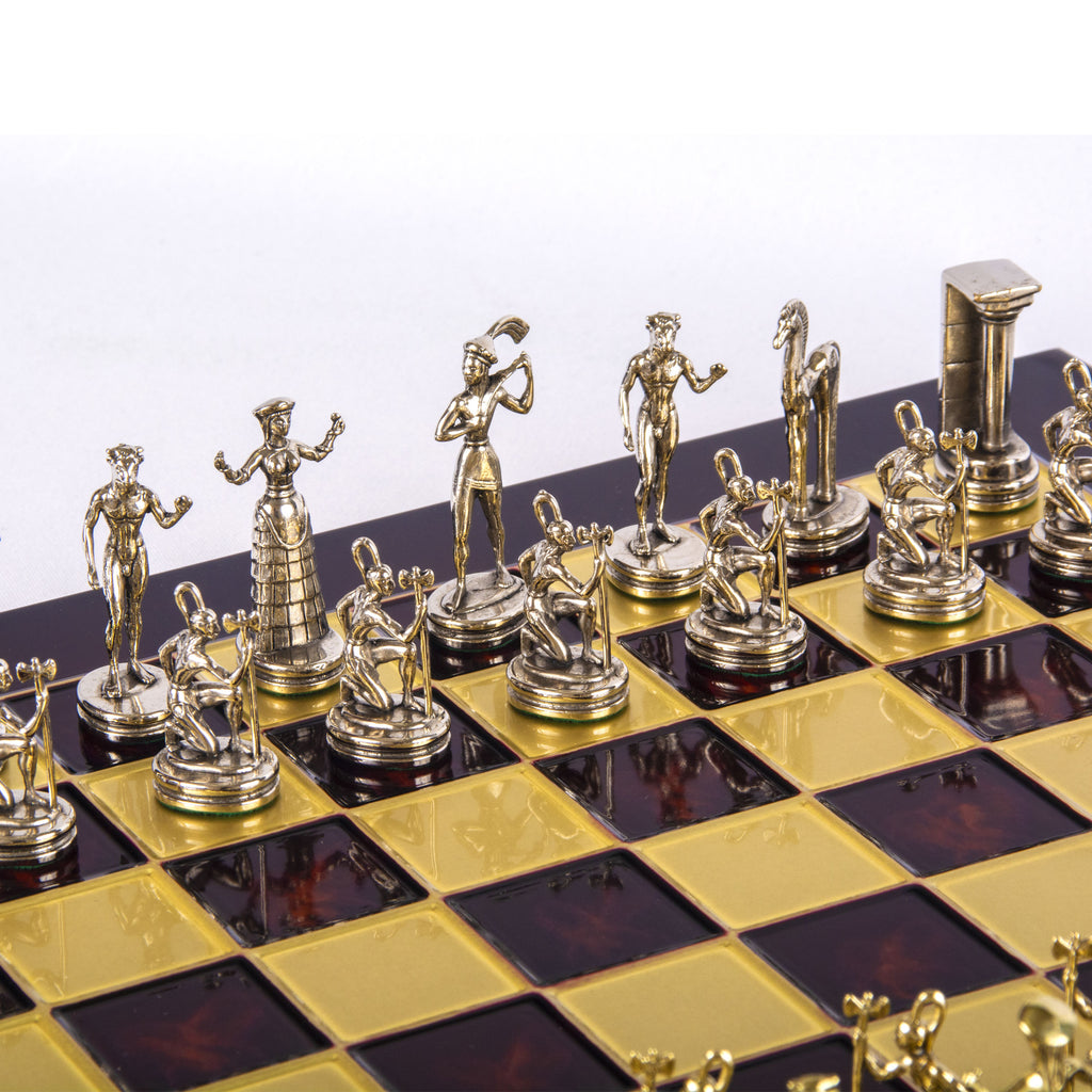 MINOAN WARRIOR CHESS SET with gold/silver chessmen and bronze chessboard red