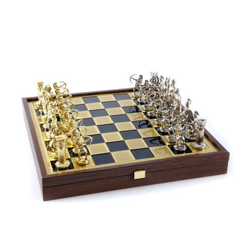 ARCHERS CHESS SET in wooden box with gold/silver chessmen and bronze chessboard (Large)