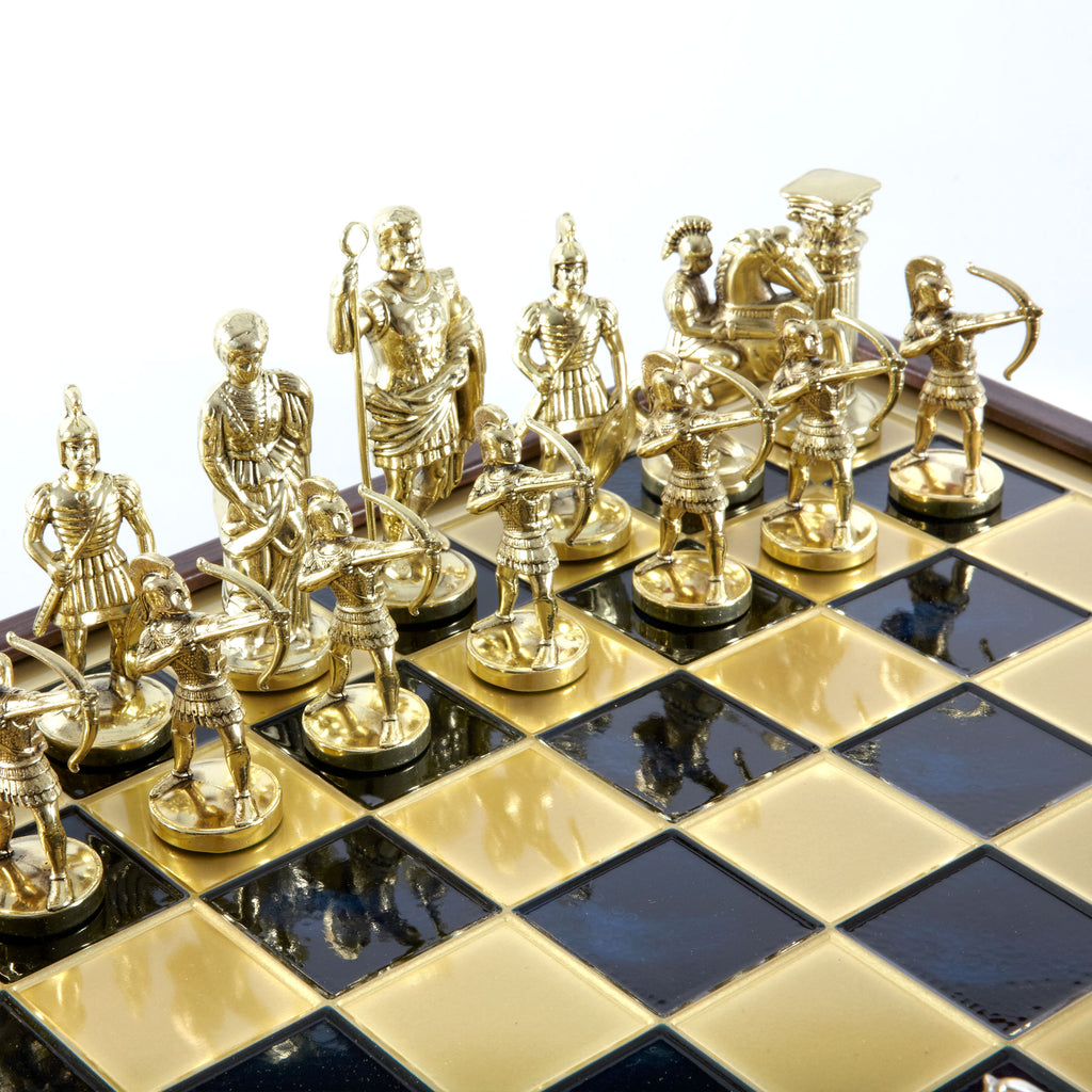 ARCHERS CHESS SET in wooden box with gold/silver chessmen and bronze chessboard 41 x 41 m  (Large)