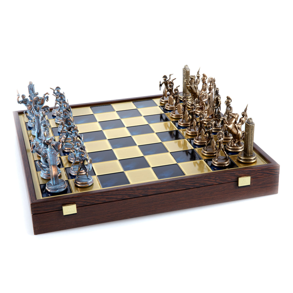 GREEK MYTHOLOGY CHESS SET in wooden box with blue/brown chessmen and bronze chessboard 48 x 48cm (Extra Large)