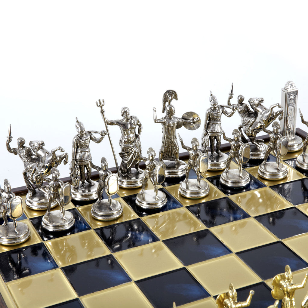 GREEK MYTHOLOGY CHESS SET in wooden box with gold/silver chessmen and bronze chessboard 48 x 48cm (Extra Large)