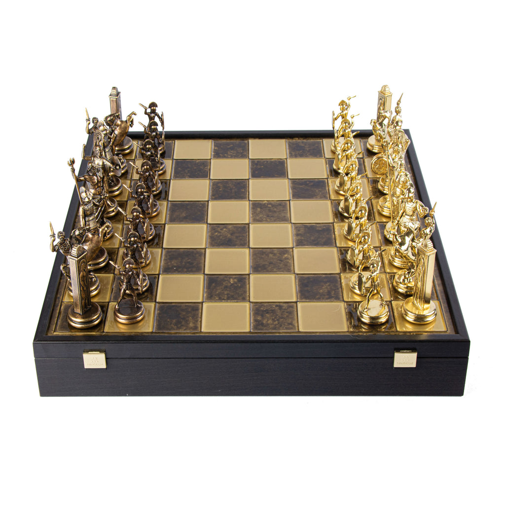 GREEK MYTHOLOGY CHESS SET in wooden box with gold/brown chessmen and bronze chessboard 48 x 48cm (Extra Large)