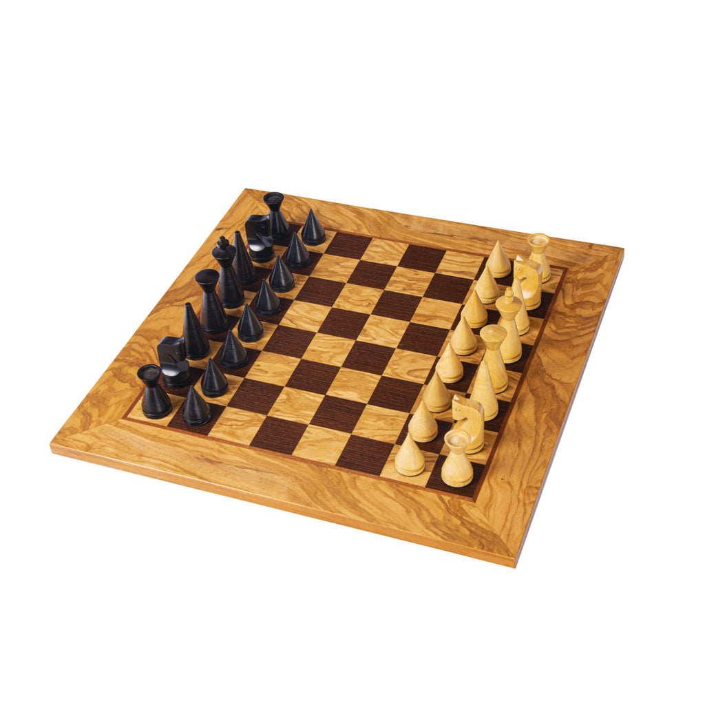 OLIVE BURL Chess set 40x40cm (Medium) with Modern Style Chessmen 7.6cm King