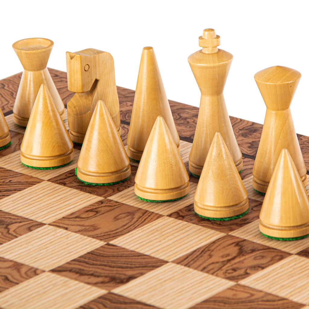 WALNUT BURL Chess set 40x40cm (Medium) with Modern Style Chessmen 7.6cm King