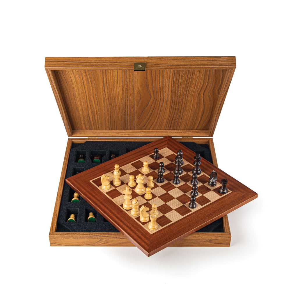 MAHOGANY Chess set 34x34cm (Small) with Staunton Chessmen 6.5cm King