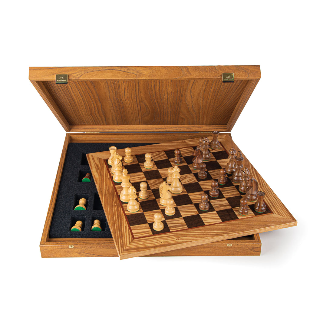 OLIVE BURL Chess set 50x50cm (Large) with Staunton Chessmen 9.5cm King