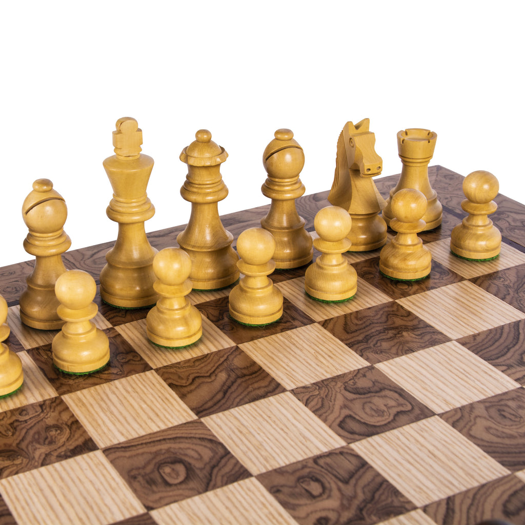 WALNUT BURL Chess set 34x34cm (Small) with Staunton Chessmen 6.5cm King